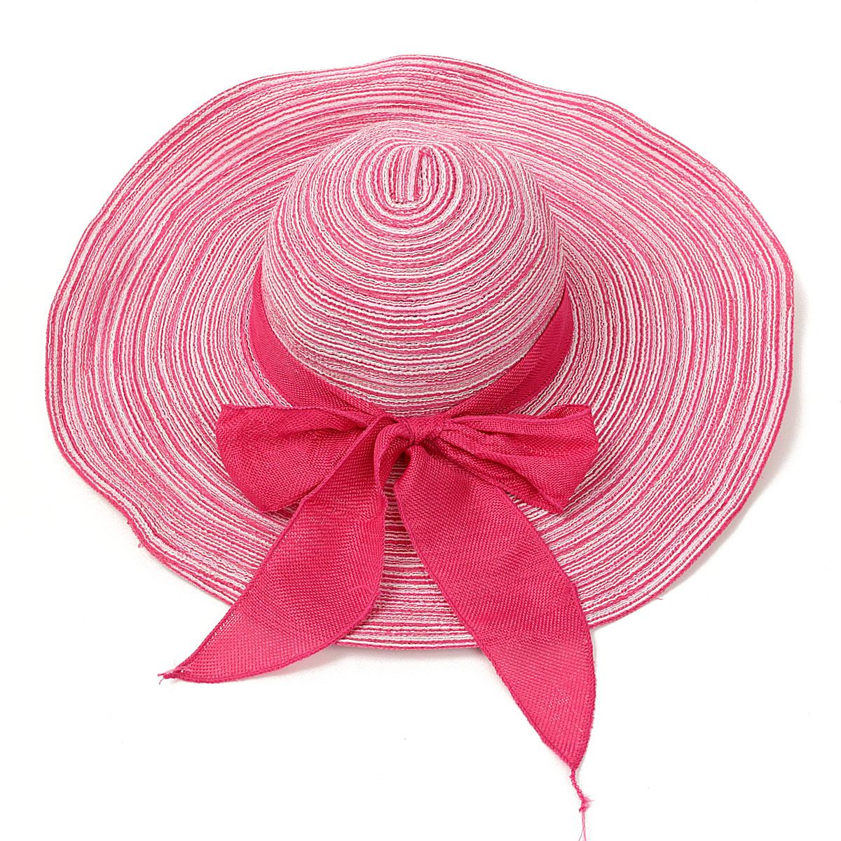 Women Girls Wide Brim Straw Floppy Bowknot Linen Hat Summer Beach Sun Foldable Cap