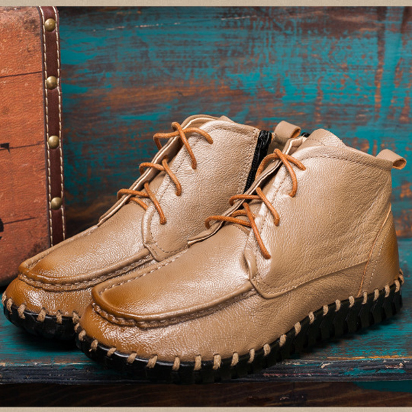 SOCOFY Genuine Leather Pure Color Stitching Zipper Lace Up Casual Boots