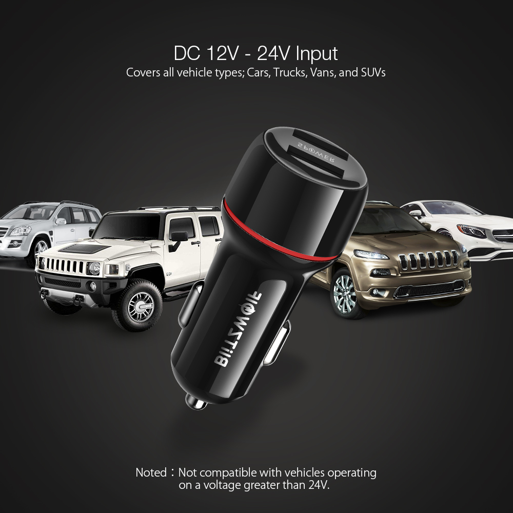 BlitzWolf® BW-SD1 24W Dual Ports LED Lights USB Car Charger With Power3S Tech