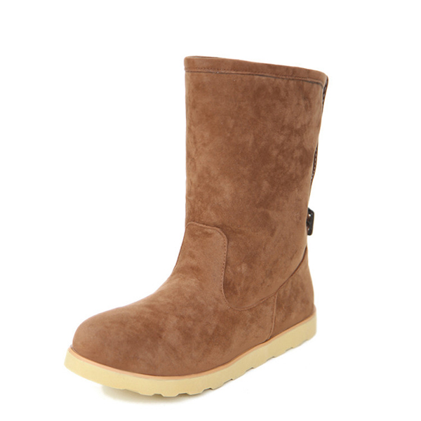 US Size 5-12 Winter Suede Flat Buckle Fur Lining Ankle Snow Boots