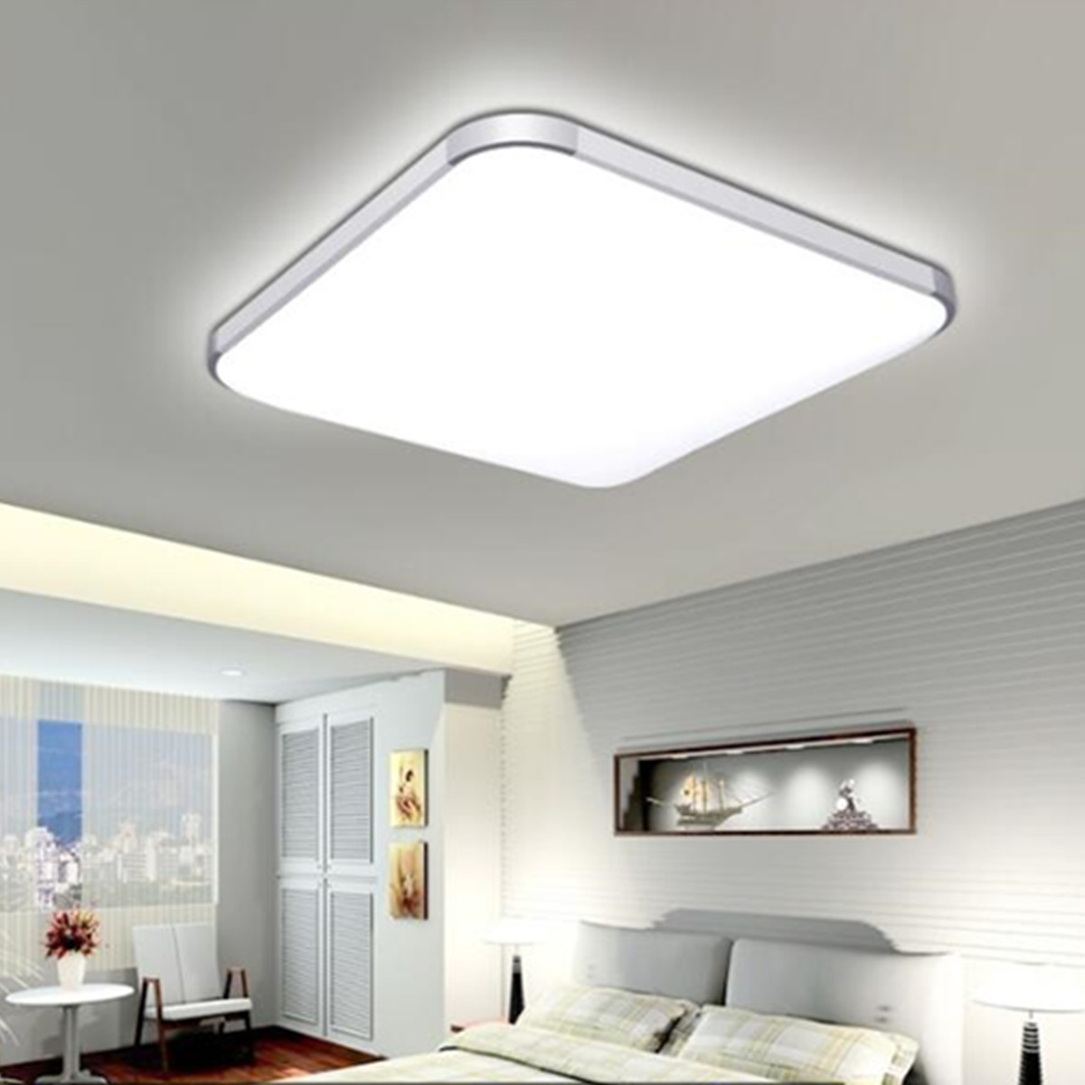 24W LED Modern Flush Mount Ceiling Light Bedroom Lamp Home Fixture With Remote