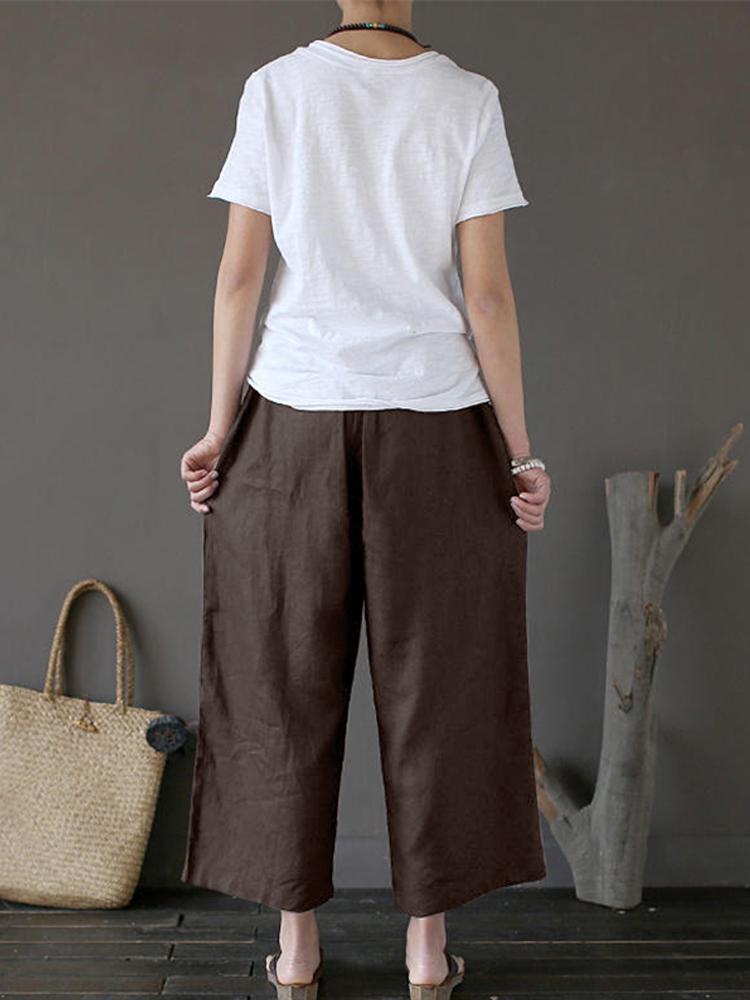 Women Retro High Elastic Waist Long Wide Leg Pants
