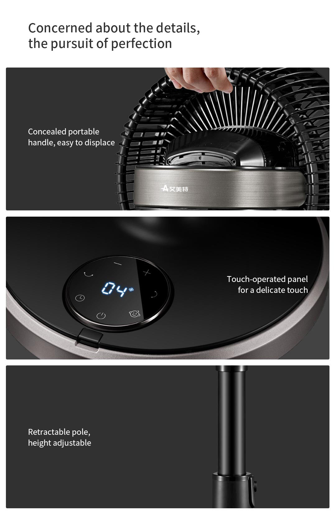 AIRMATE CA23-RD2 Air Circulation Fan Nature Wind Speed Adjustable from Xiaomi Youpin -Black