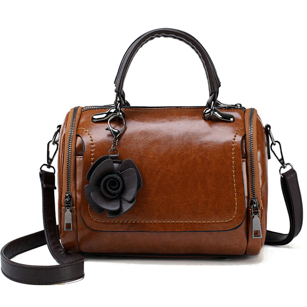 Women Oil Wax Vintage Flower Handbag Crossbody Bag