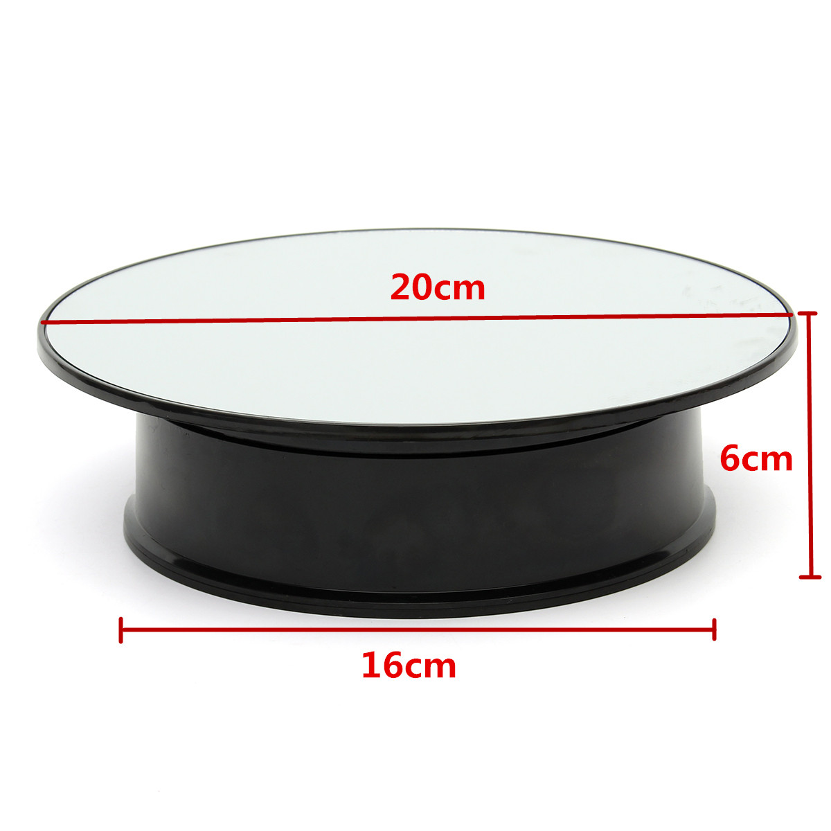 8 Inch Top Mirror Glass Rotating Rotary Display Stand Turntable Battery Powered
