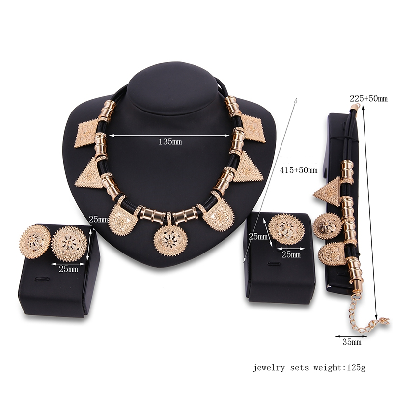 Luxury Geometric Shapes Alloy Necklace Earrings Ring Bracelet Jewelry Set