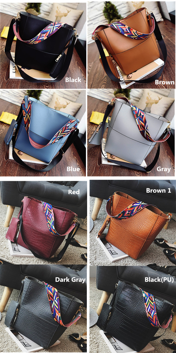 Women Casual PU Handbag Durable Colorful Two Straps Crossbody Bag Shoulder  Bag 851e1d5ec2811