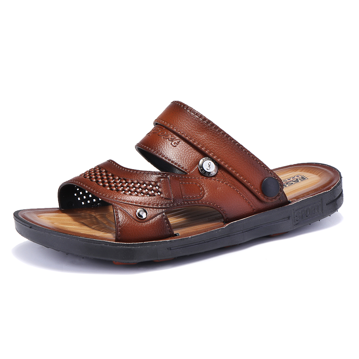 Men Comfy Two Way Wear Leather Sandals Beach Slippers