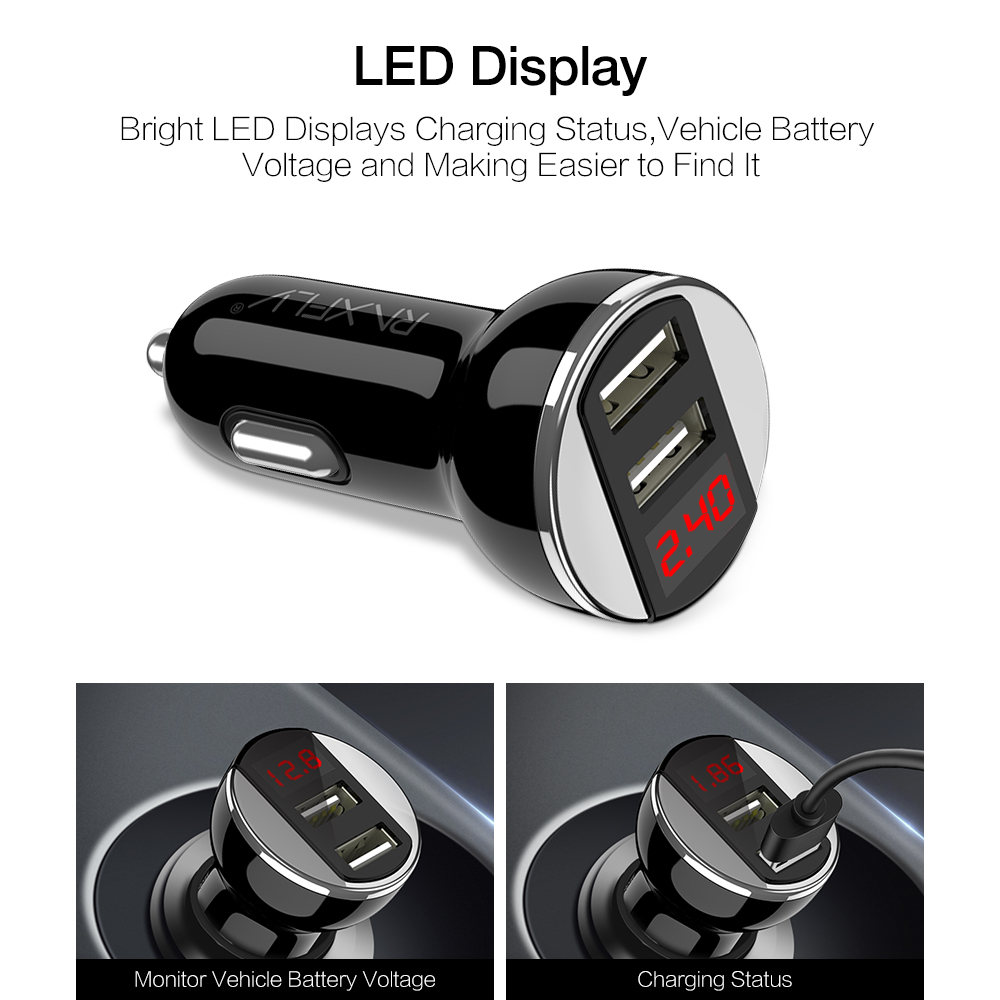 RAXFLY 2.4A Dual USB LED Display Car Charger For iPhone X 8Plus Oneplus 5t Xiaomi 6 Mi A1 Note 3 S8