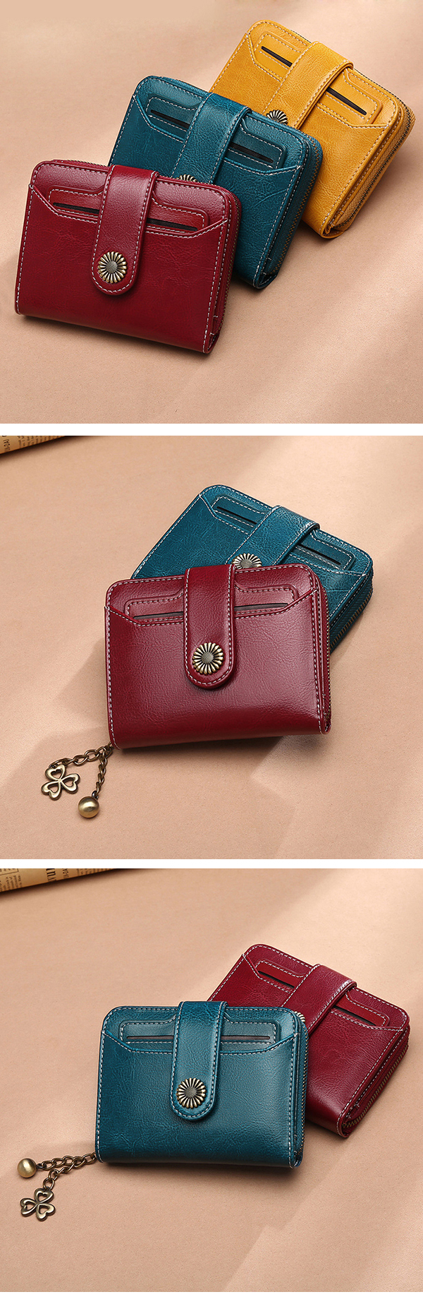 Women Genuine Leather Short Section Multi-function Wallet
