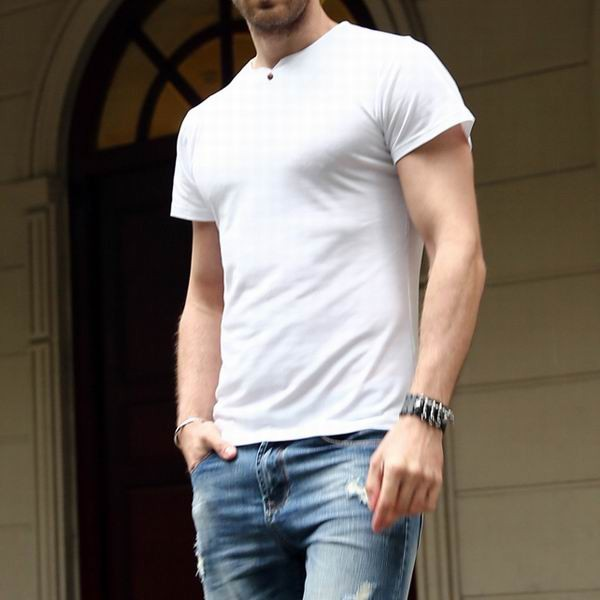 Mens Slim Fit Base Essential Tshirts Solid Color Short Sleeved T Shirts
