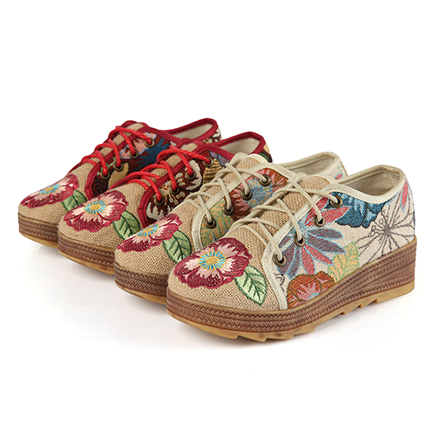 Embroidered Flower Platform Lace Up Folkways Casual Shoes