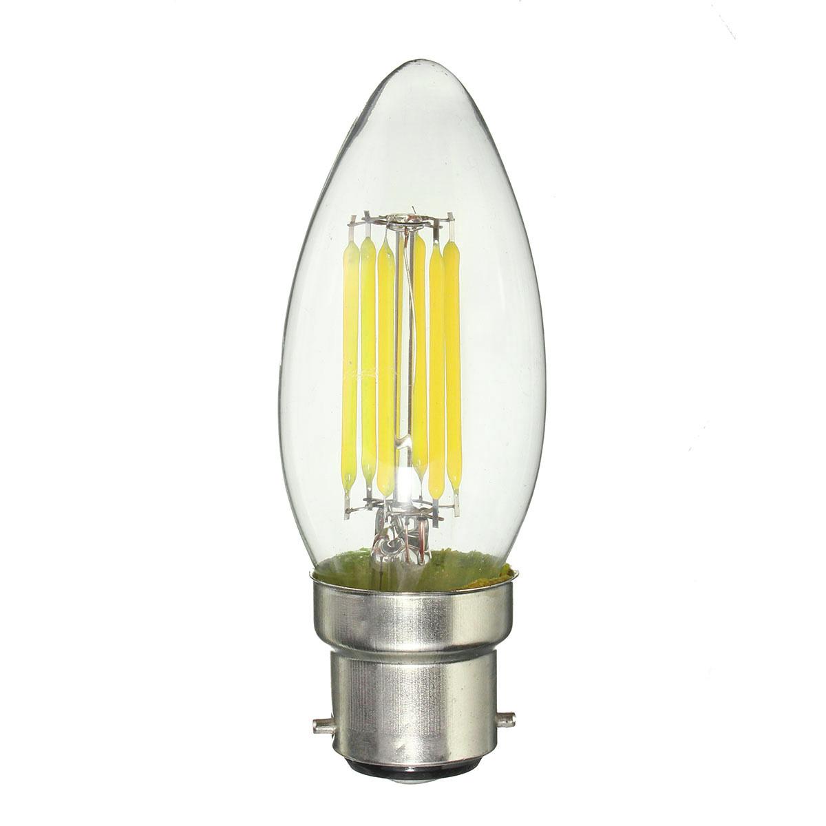 Dimmable B22 C35 6W COB Pure White Warm White Edison Retro Light Lamp Bulb AC220V