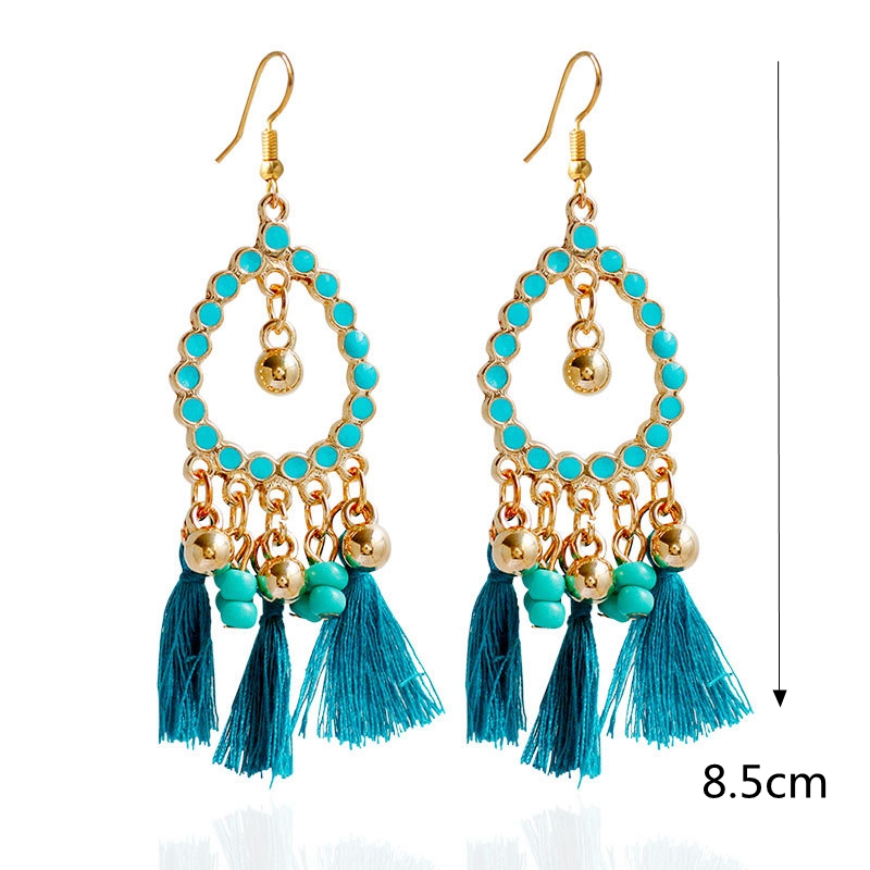 Bohemian Alloy Beads Drop Tassel Women Earrings