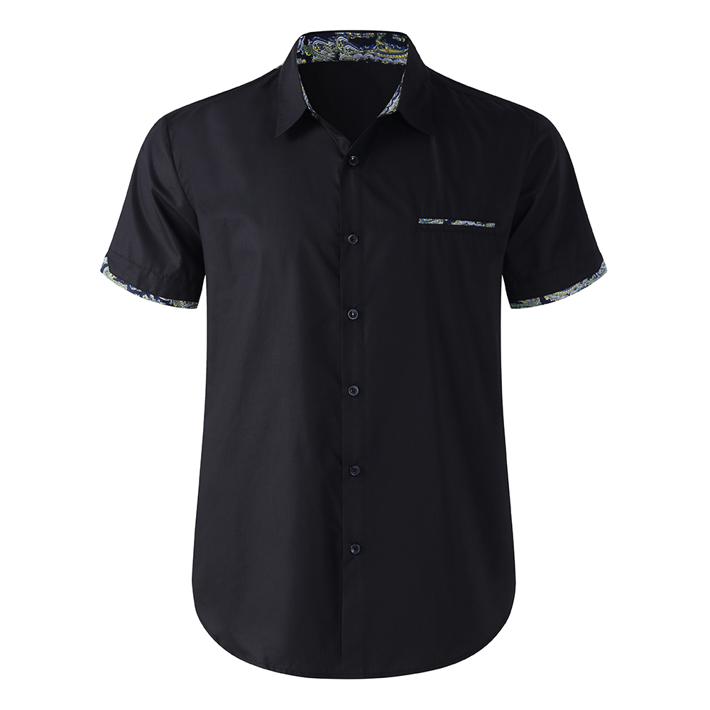 TWO-SIDED Mens Splice Printing Short Sleeve Designer Shirts