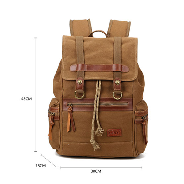 15inch Laptop Retro Men Canvas Genuine Leather Backpack Casual Travel School Backpack