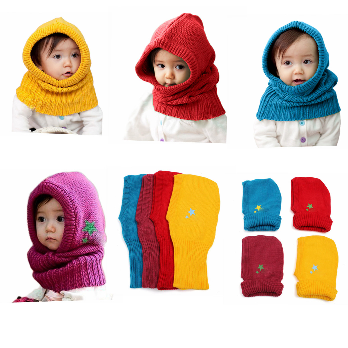 Cute Winter Beanie Crochet Kids Boys Girls Outdoor Warm Hat Hooded Scarf  Wool Earflap Knitted Cover 49ee9b690c69
