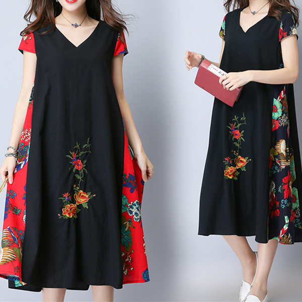 Vintage Women Embroidered Patchwork V-Neck Short Sleeve Dresses
