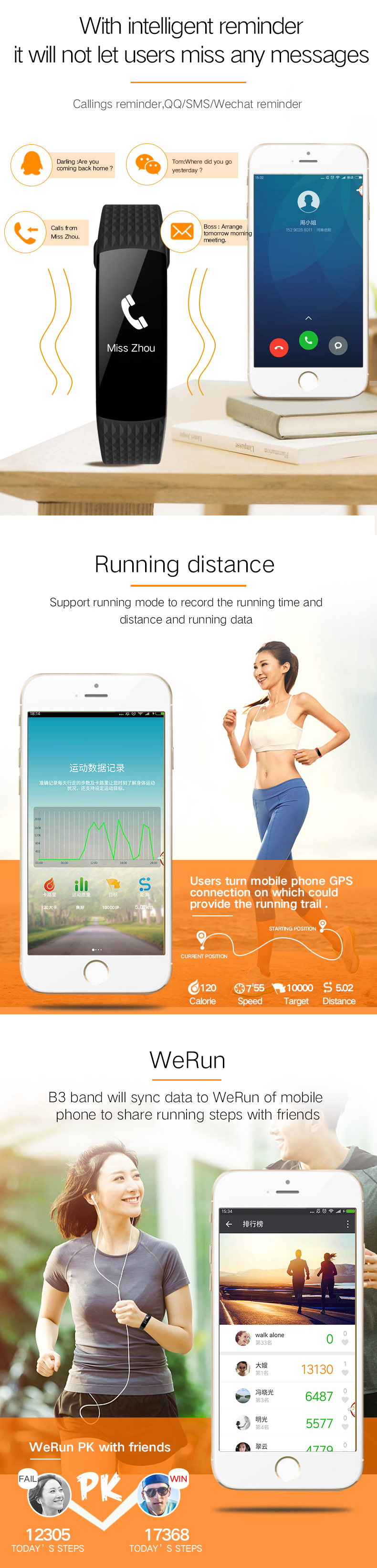 OLED Blood Pressure Heart Rate Health Monitor Smart Watch Bracelet