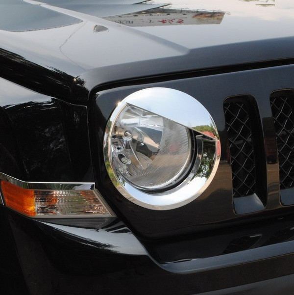 For Jeep Patriot 2011 to 2015 Silver Headlight Trim Cover Bird Shape 1Pair