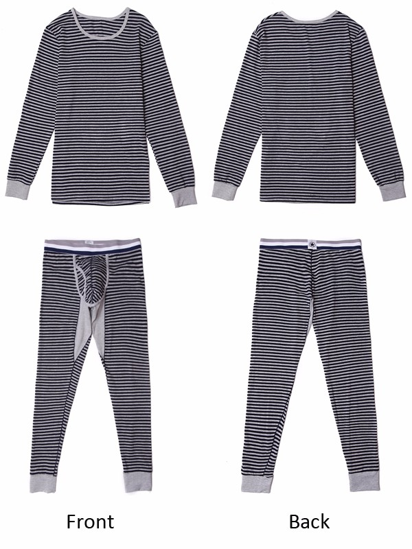 Mens Cotton Autumn Winter Stripes Printing Warm Fitting Pajamas Sets Casual Mid-rise Sleepwear