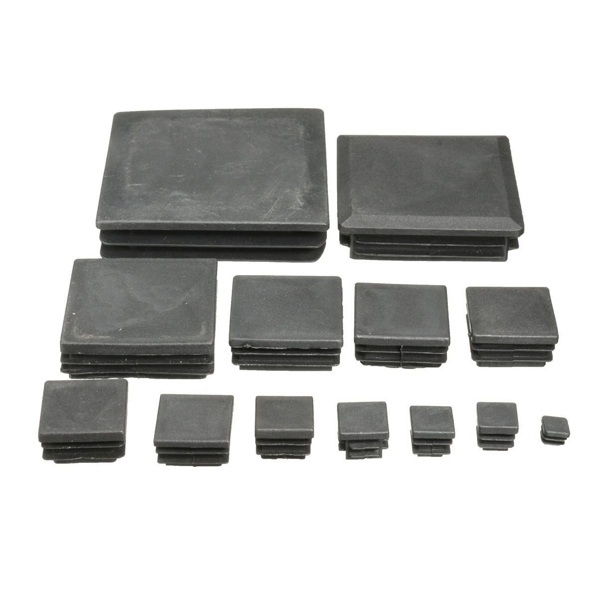 Plastic Square Black Blanking End Cap Inserts Plug Cover for Tube Pipe Section 13 Sizes