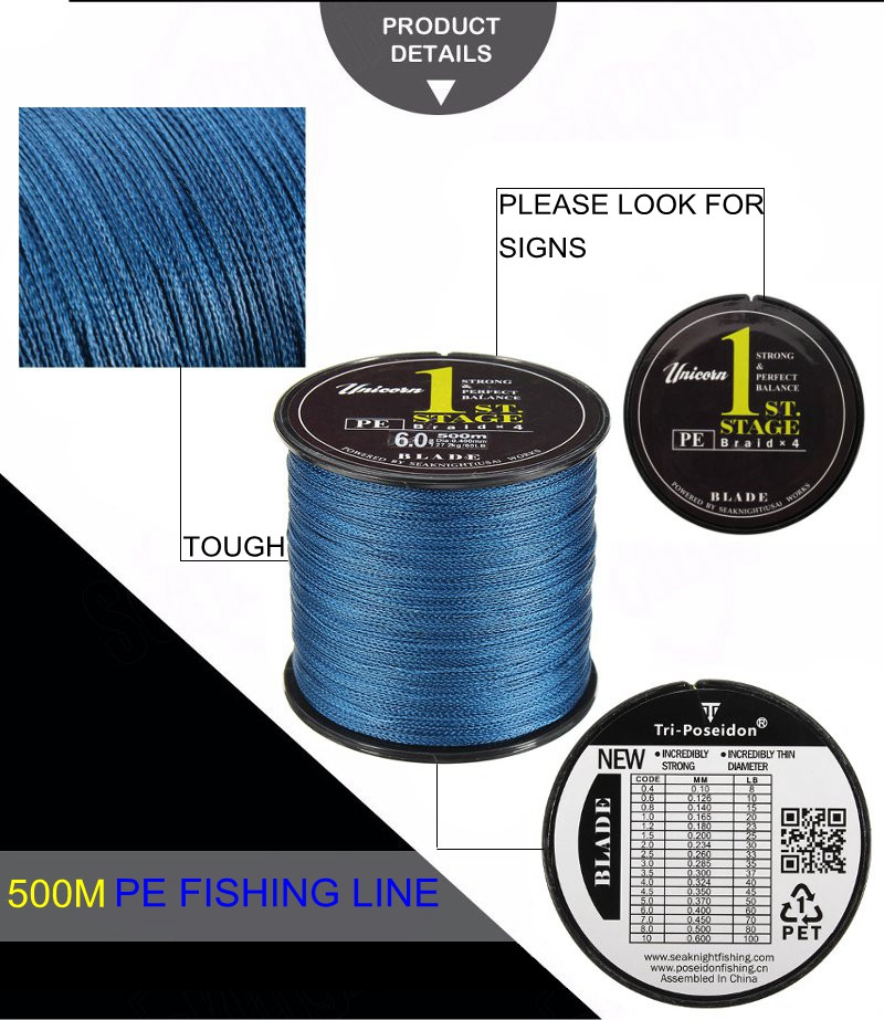 SeaKnight Brand 500M PE Braided Fishing Line Multifilament 20-60LB Fish Line