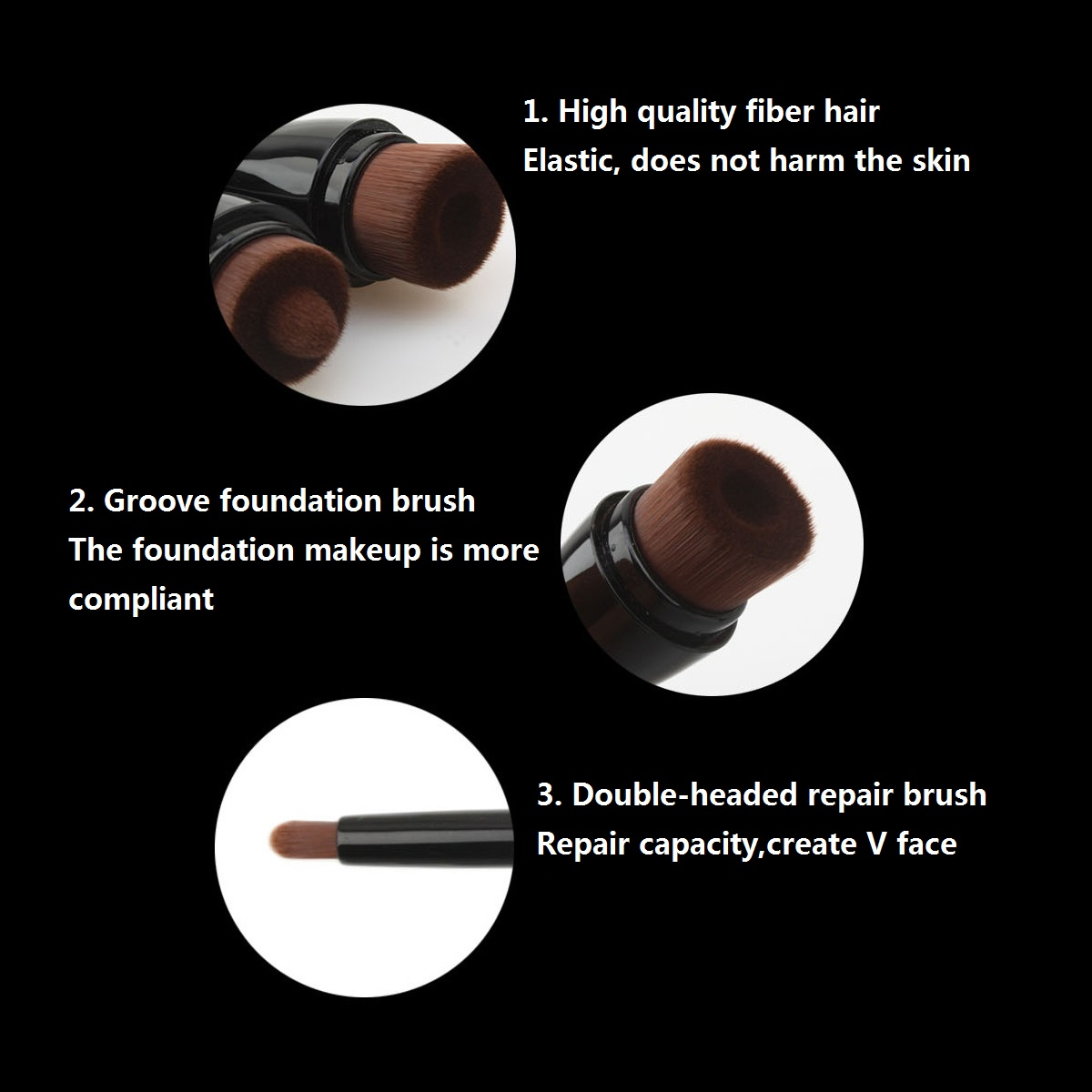 Double Head Brush Foundation Powder Contour Travel Tool