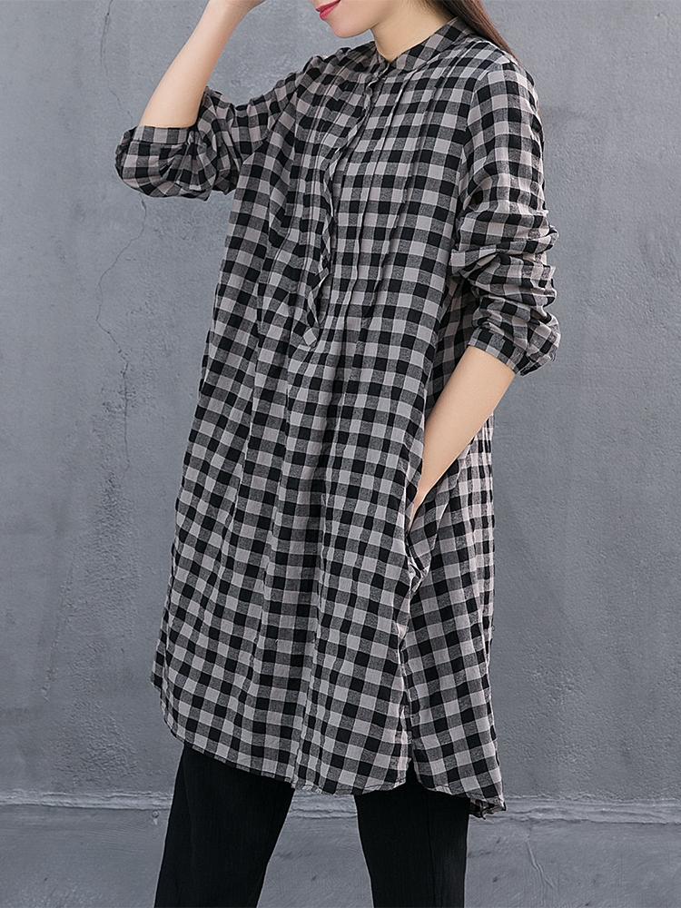 Women Plaid Pocket Button Shirt Dresses