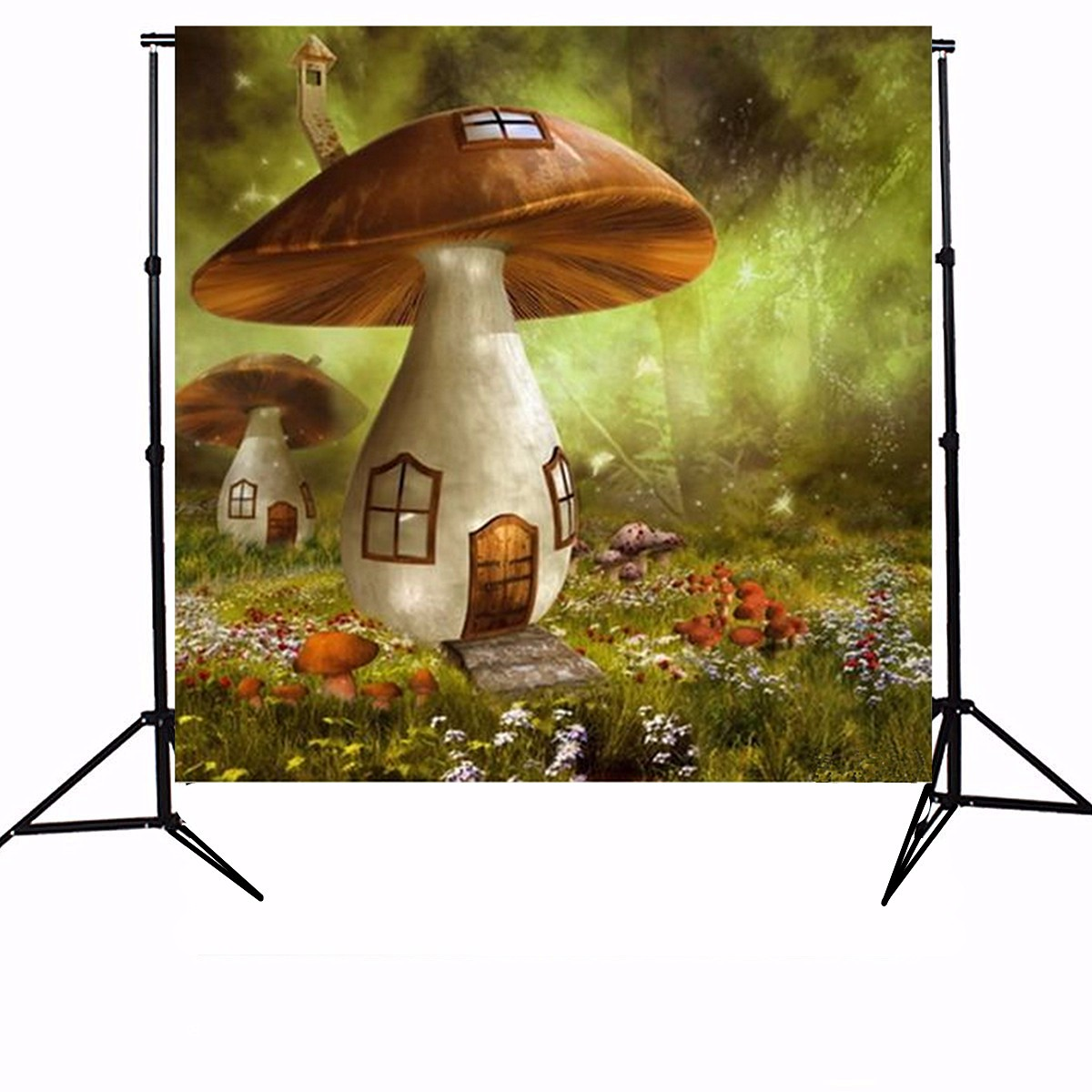 10x10ft Sunshine Forest Mushroom House Photography Backdrop Studio Prop Background
