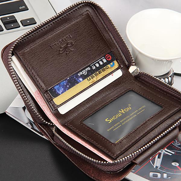 Men Business Minimalist Fashion Card Holder Trifold Wallet