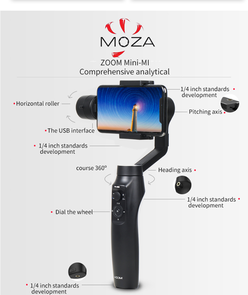 moza mini mi bluetooth 4 0 handheld wireless charge stabilizer gimbal for smartphone. Black Bedroom Furniture Sets. Home Design Ideas
