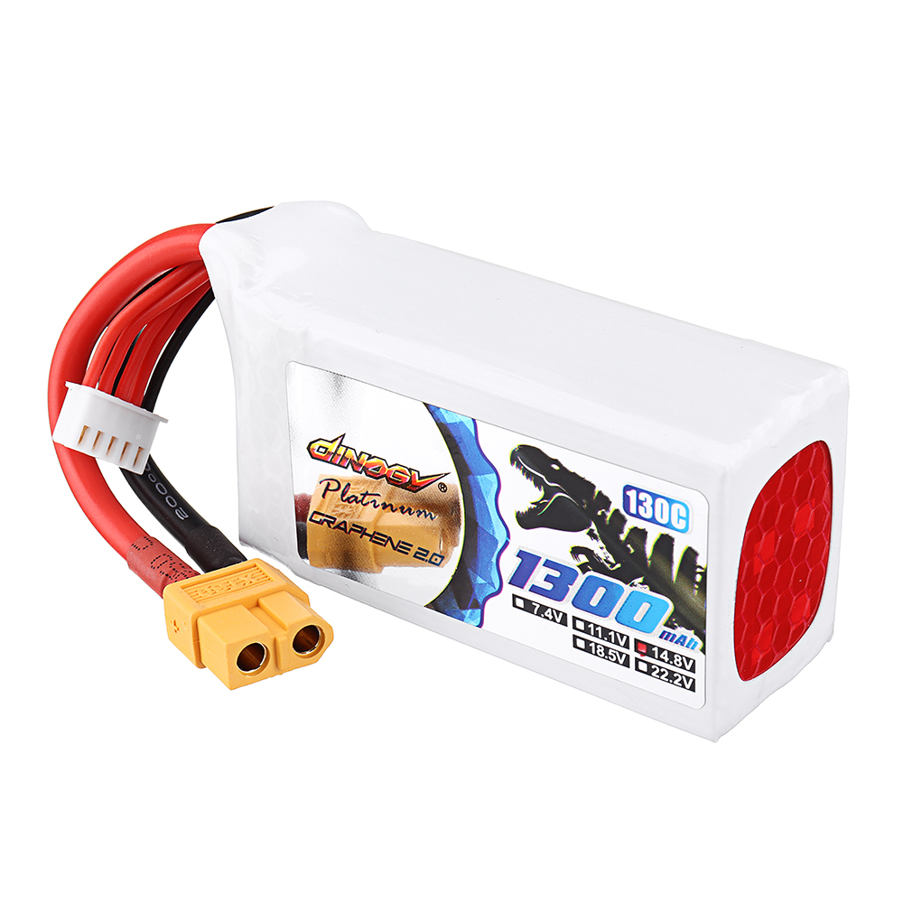 DINOGY ULTRA GRAPHENE 2.0 14.8V 1300mAh 130C 4S Lipo Battery XT60 Plug for FPV RC Drone - Photo: 7