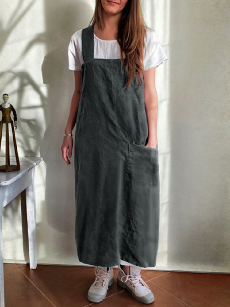 220caa8ac76 women kitchen brief solid color cotton dress linen aprons at Banggood