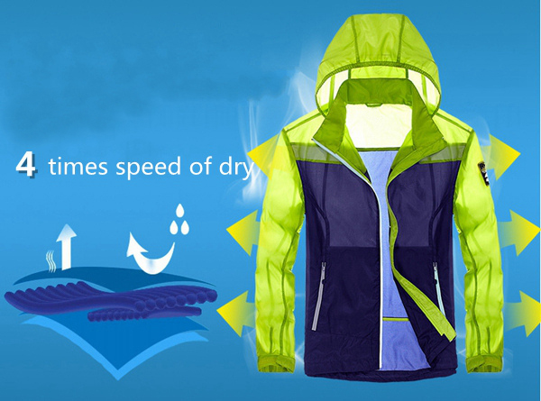 Summer Outdooors Waterproof Quick Dry Breathable Sunscreen Light Weight Thin Skin Jacket