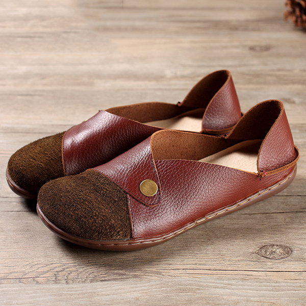SOCOFY Splicing Color Match Pattern Flat Leather Shoes