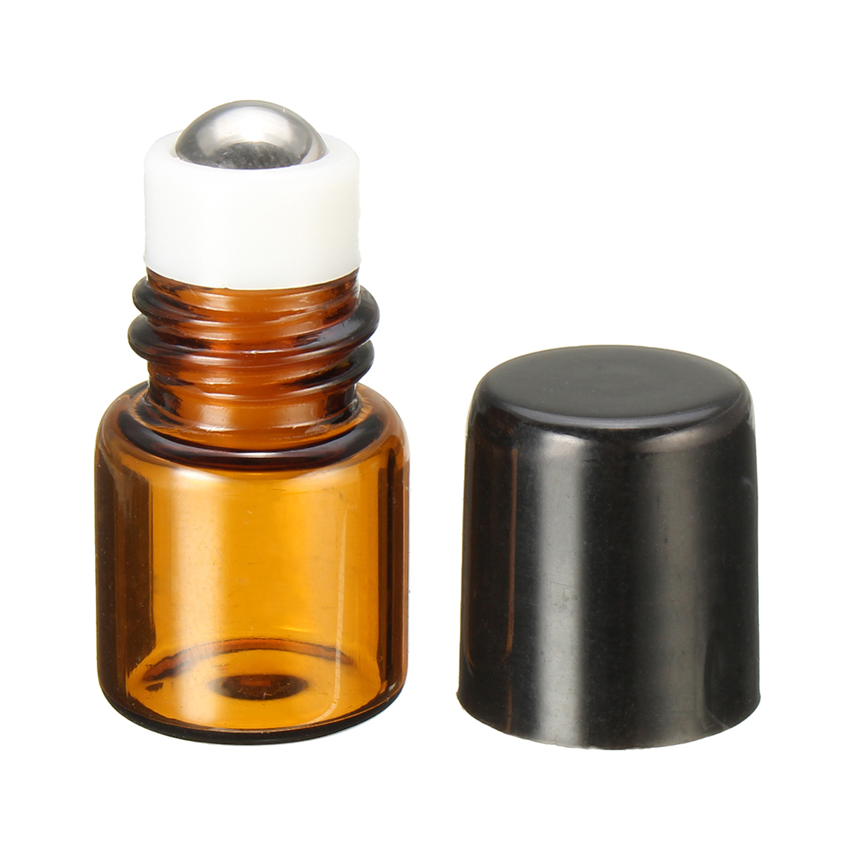1mL Empty Amber Glass Roll on Bottle Refillable Metal R