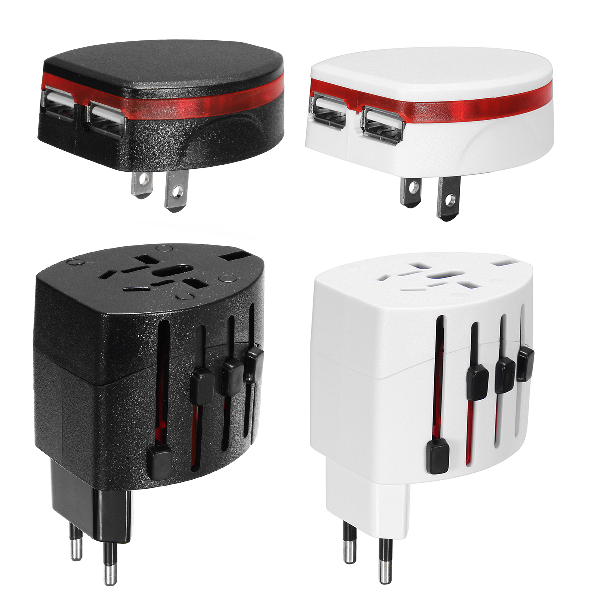 Universal Worldwide Travel Adapter Plug Double USB/AC Power Adaptor Charger