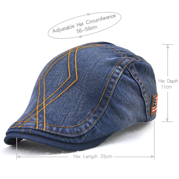 Unisex Cotton Washed Striped Beret Hat Duckbill Golf Buckle Adjustable Visor Cabbie Cap