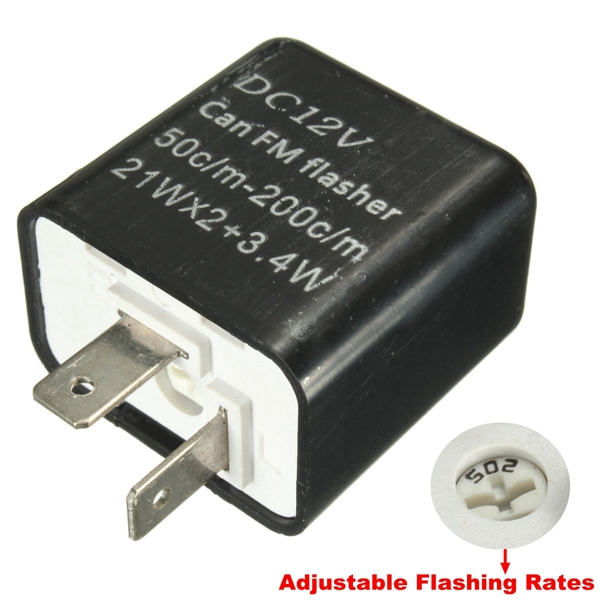 Adjustable 2 Pin Flasher LED Turn Signal Light Relay For Cars Boats Motorcycles