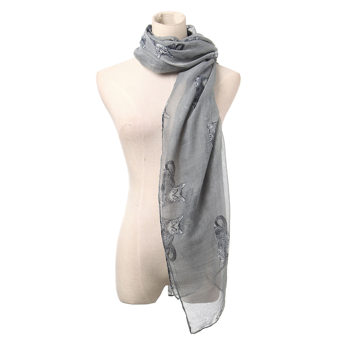 Women Ladies Cats Animal Print Scarf Neck Warm Shawl Wrap Stole