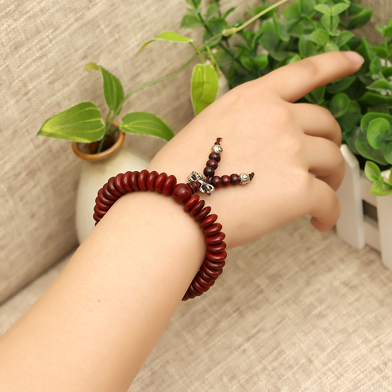 Natural Siam Rosewood Beads Buddha Bead Elastic Bracelet for Women Men