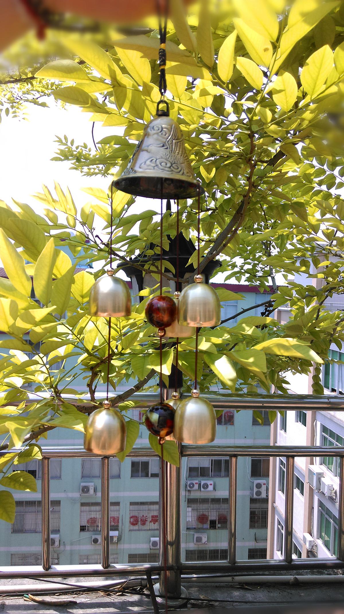 6 Bells Copper Clock Yard Garden Outdoor Living Amazing Wind Chimes