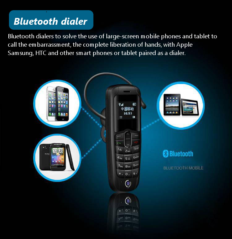 A20 0.66 Inch 260mAh Single SIM bluetooth 3.0 Earphone Headphone Dialer Mini Cell Phone