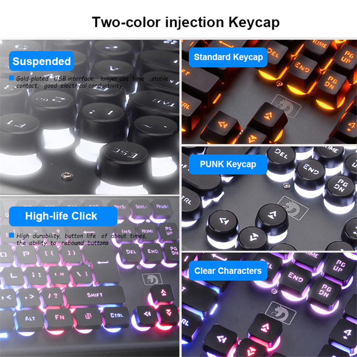 K70 104Keys RGB LED Backlight Punk Keycap Gaming Keyboard USB Wired Round Keycap