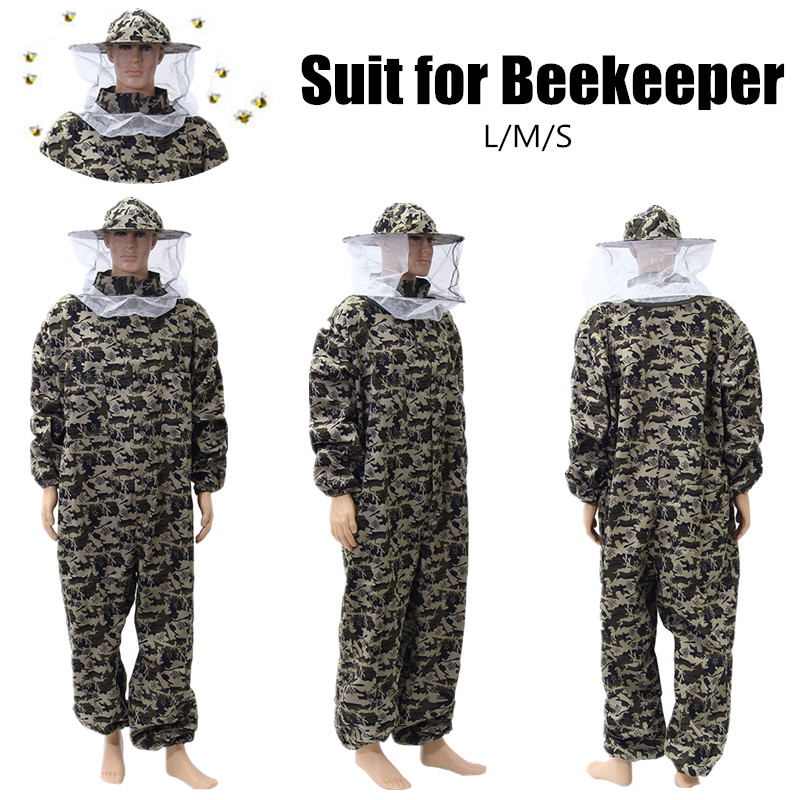Camouflage Beekeeping Suit Protective Pants Veil Bee Protecting Dress
