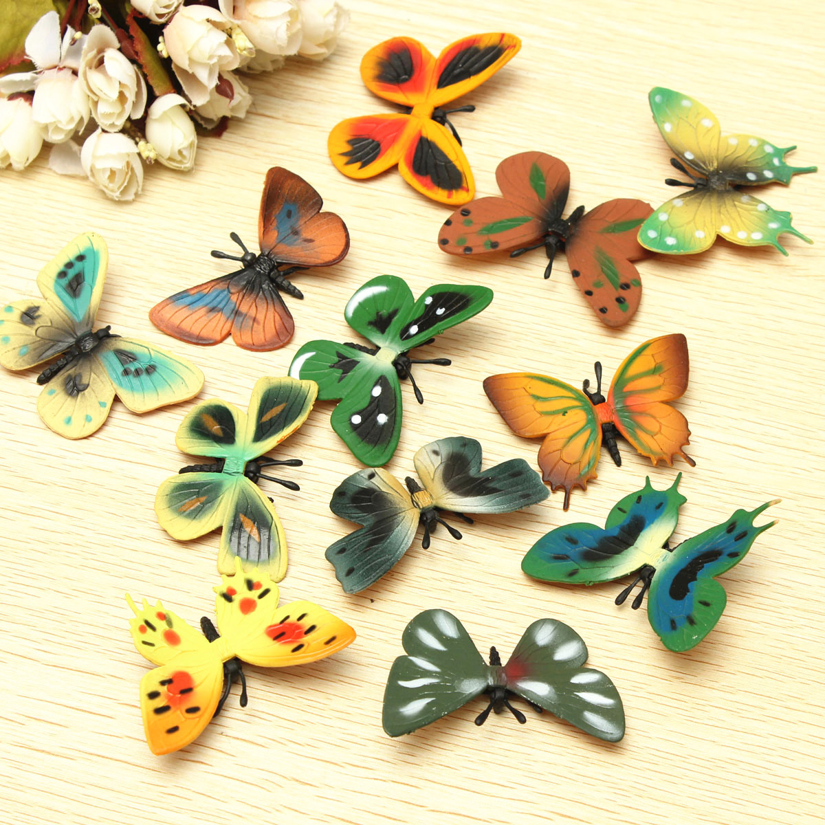 12pcs Plastic Butterfly Colorful Wall Stickers Art Mural Decals Home Wedding Party Decor