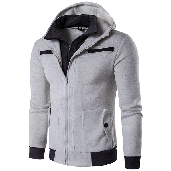 Mens Casual Double Collar Hoodies Sweatshirt Multi Pocket Zipper Slim Fit Sweatshirt