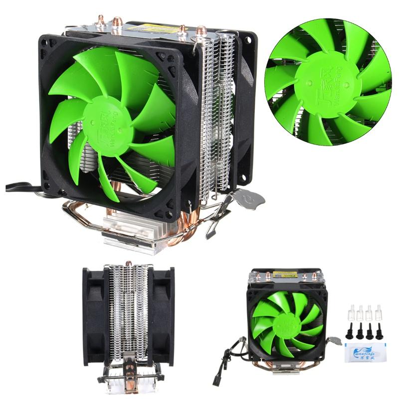 3Pin Dual Fan CPU Cooler Cooling Fan for Intel LGA775/1156/1155 AMD AM2/AM2+/AM3