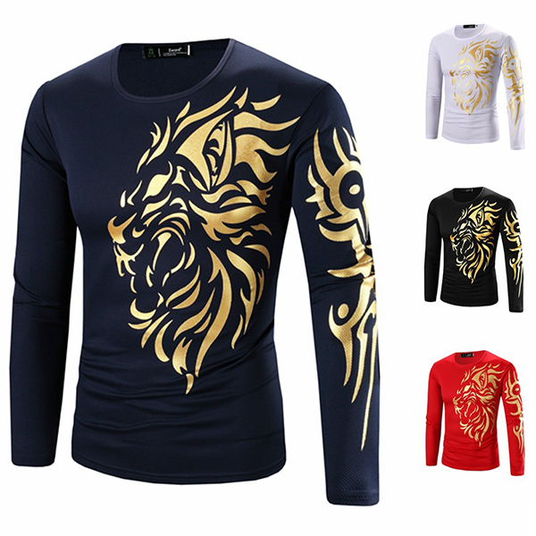 Men's Lion Gold Stamping Pattern Casual T-Shirt Cotton Blended Tops